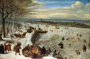 Lucas Van Valckenborch I - View of Antwerp with the Frozen Schelde