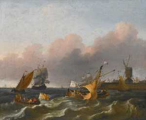 Ludolf Backhuysen - Dutch coastal vessels and a merchantman off a harbour mouth