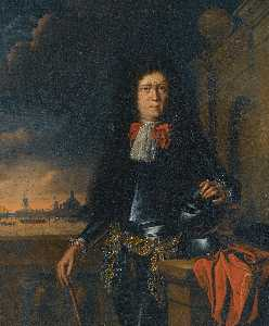 Ludolf Backhuysen - A portrait of Jan van Broeckhuizen with ships in the background