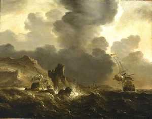 Ludolf Backhuysen - A Dutch Ship Wrecked on a Rocky Coast
