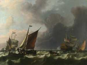 Ludolf Backhuysen - Dutch Men of war and Small Vessels in a Fresh Breeze off Enkhuizen