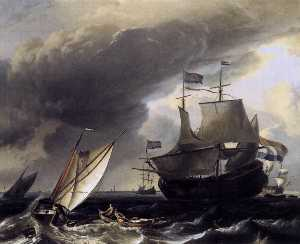 Ludolf Backhuysen - Dutch Vessels on the Sea at Amsterdam