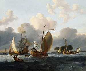 Ludolf Backhuysen - A Dutch Yacht Before the Wind in a Harbour