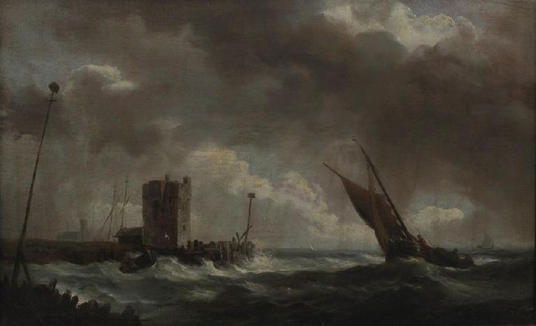 Fishing Boat in a Storm, 1690 by Ludolf Backhuysen (1630-1708, Germany) | Painting Copy | WahooArt.com