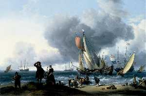 Ludolf Backhuysen - Dutchmen Embarking onto a Yacht