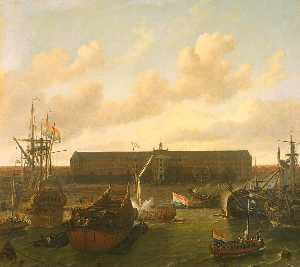 Ludolf Backhuysen - The Dock of the Dutch East India Company at Amsterdam