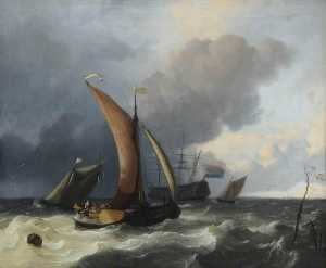 Order Famous Paintings Reproductions : Dutch Sailing Boats in a Rough Sea, 1695 by Ludolf Backhuysen (1630-1708, Germany) | WahooArt.com