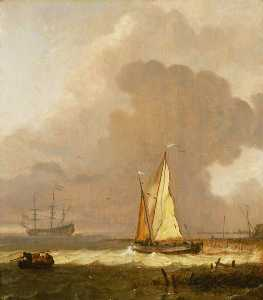 Ludolf Backhuysen - A Kaag Leaving the Shore in Stormy Weather