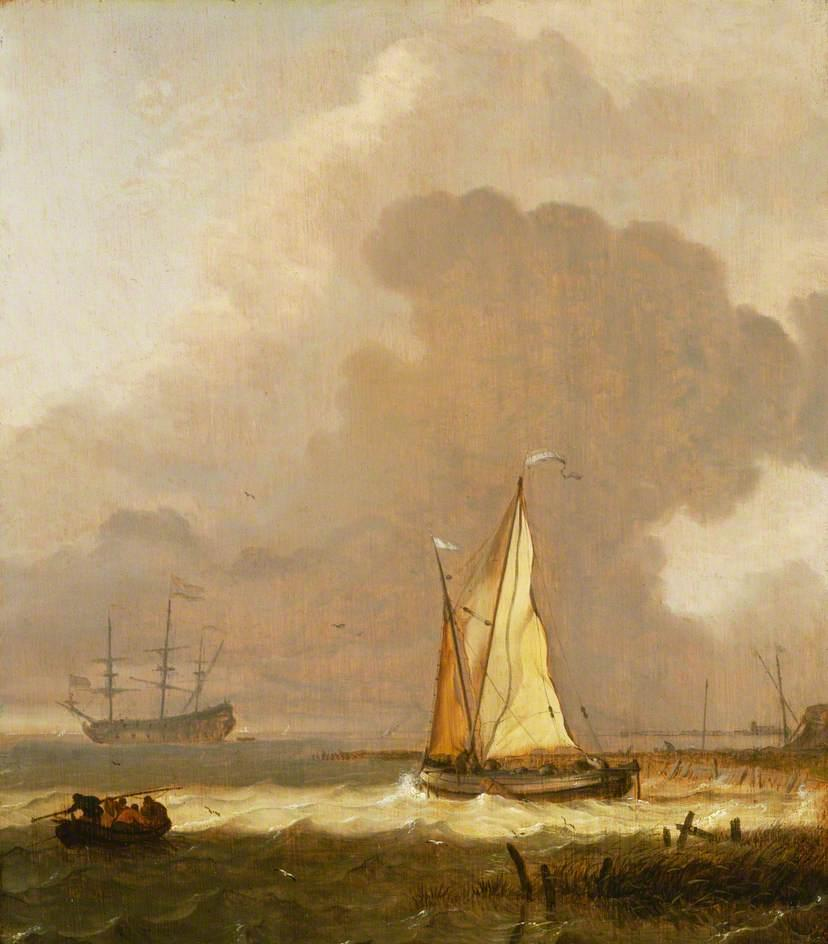 A Kaag Leaving the Shore in Stormy Weather by Ludolf Backhuysen (1630-1708, Germany) | Oil Painting | WahooArt.com