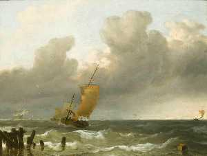 Ludolf Backhuysen - Shipping by the Dutch Coast