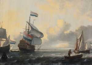 Ludolf Backhuysen - Ships in a Stiff Breeze