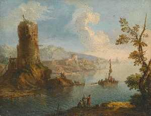 Paolo Anesi - Harbour scene with a ruined watch tower and groups of figures standing on the rocky shore