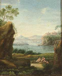 Paolo Anesi - Landscape with Couple and Distant Buildings