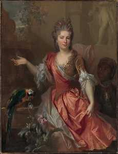 Nicolas De Largillière - Portrait of a Woman, Possibly Madame Claude Lambert de Thorigny (Marie Marguerite Bontemps, 1668 1701), and an Enslaved Servant