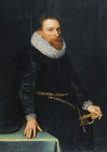 Michiel Jansz Van Mierevelt - Portrait of a Gentleman, Three quarter length, standing, wearing a black tunic and white ruff