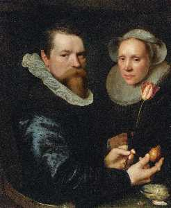Michiel Jansz Van Mierevelt - Double portrait of a husband and wife, he holding a tulip and bulb, a selection of shells on the shelf below