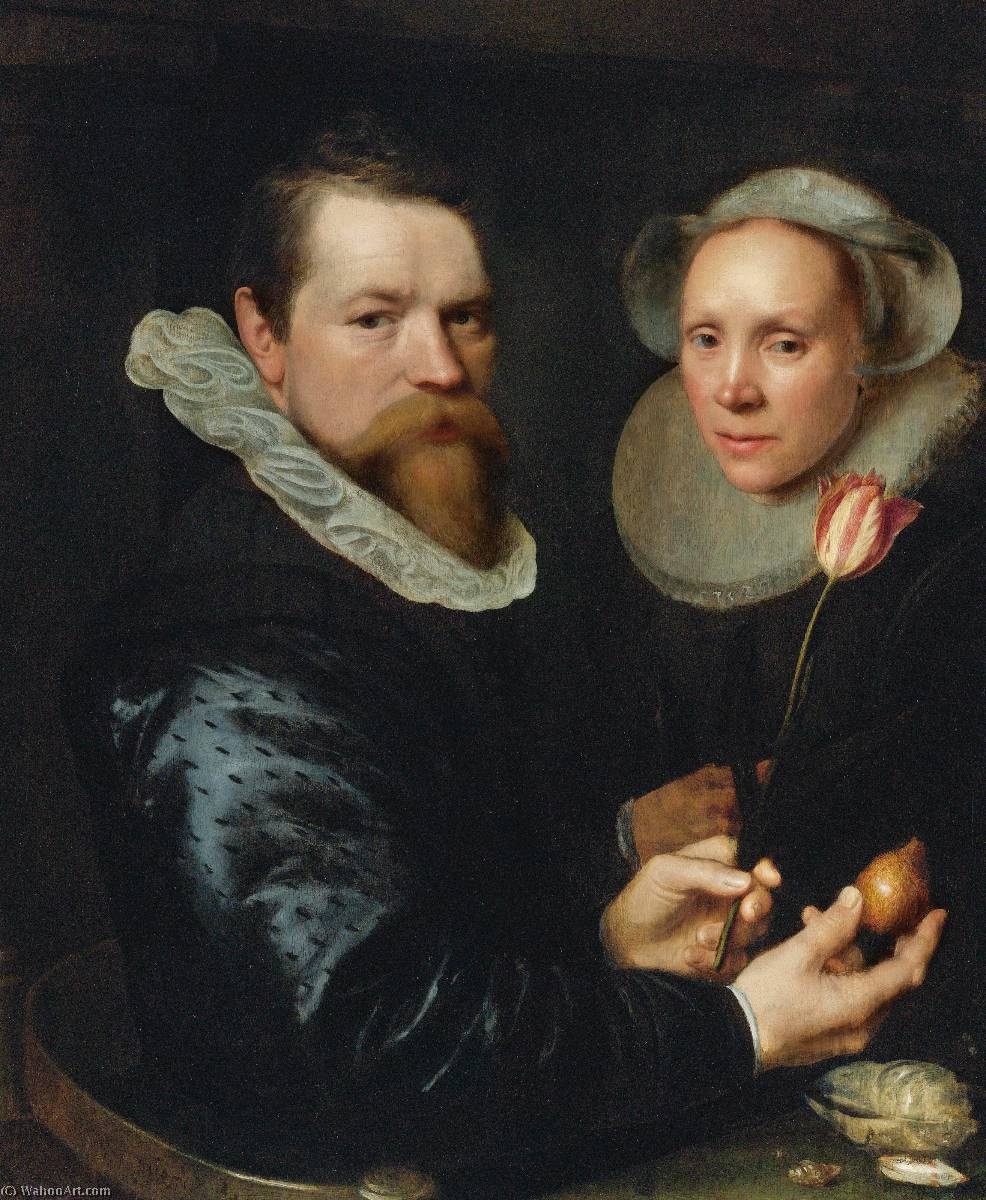 Double portrait of a husband and wife, he holding a tulip and bulb, a selection of shells on the shelf below by Michiel Jansz Van Mierevelt (1566-1641, Netherlands) | Oil Painting | WahooArt.com