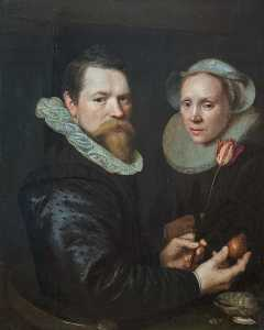 Michiel Jansz Van Mierevelt - Double Portrait of a Husband and Wife with Tulip, Bulb, and Shells