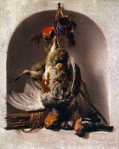 Melchior De Hondecoeter - Dead Birds and Hunting Equipment in a Niche
