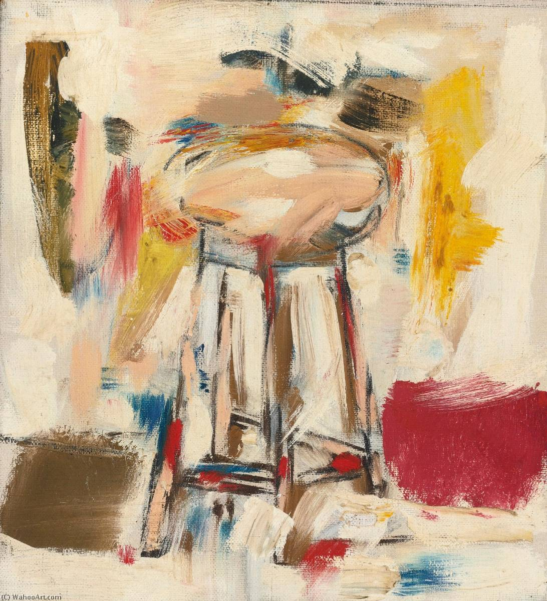 Untitled (Stool), Oil On Canvas by Michael Goldberg (1924-2007, United States)