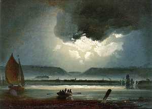 Peder Balke - Moonlit View of Trondheim