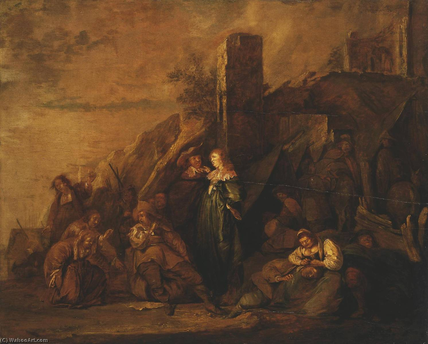 Order Reproductions | Halt of Travellers Among Ruins, 1649 by Pieter Jacobs Codde (1599-1678) | WahooArt.com