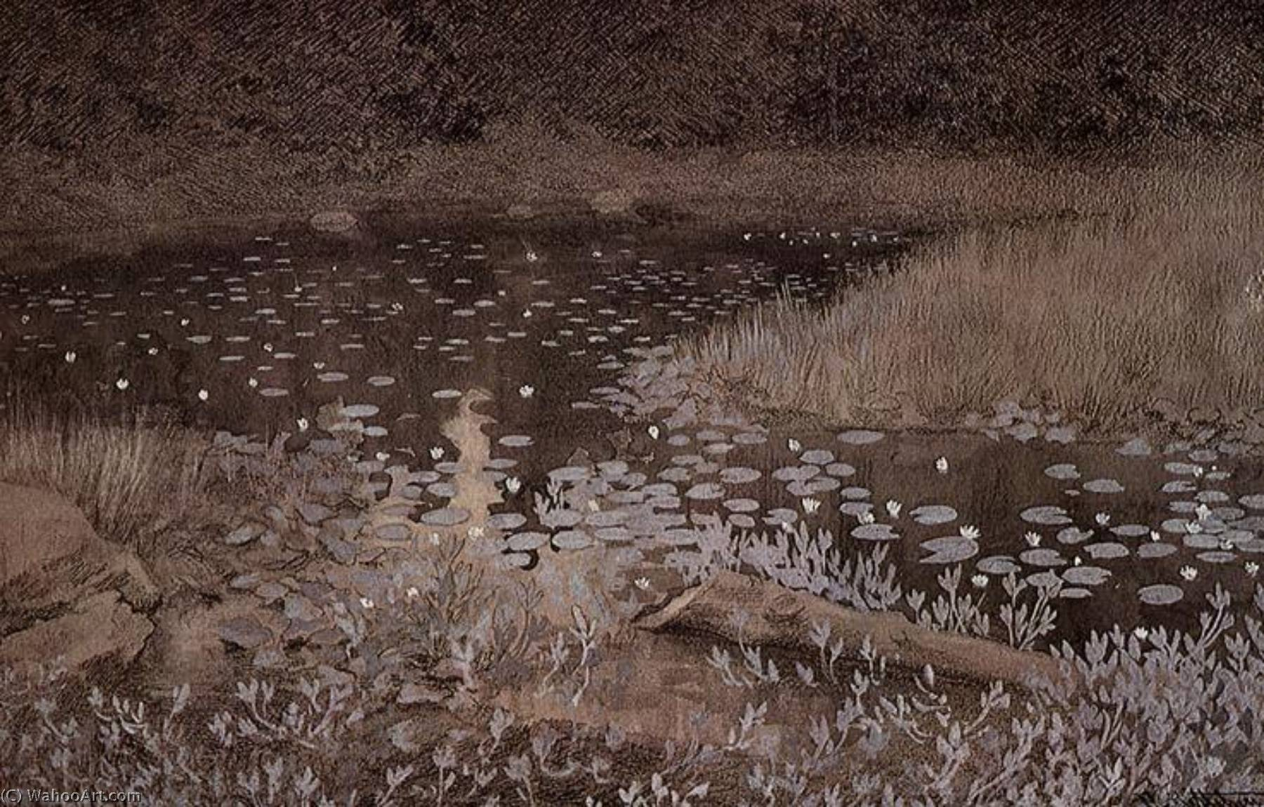 Lily Pond by Theodor Kittelsen (1857-1914) | Museum Quality Reproductions | WahooArt.com