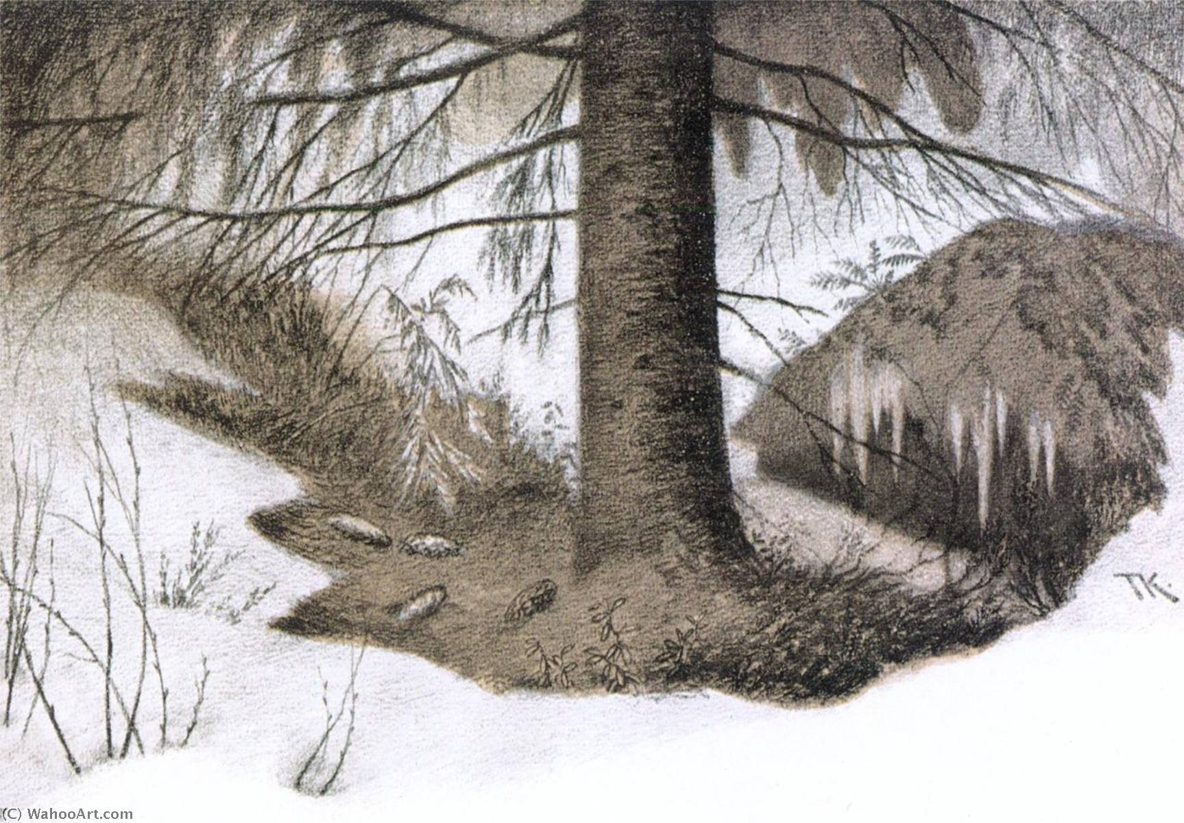 Forest`s Wintergarden, 1901 by Theodor Kittelsen (1857-1914) | Famous Paintings Reproductions | WahooArt.com