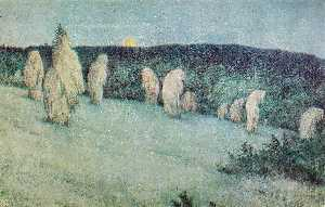 Theodor Kittelsen - Grain Field in Moonlight
