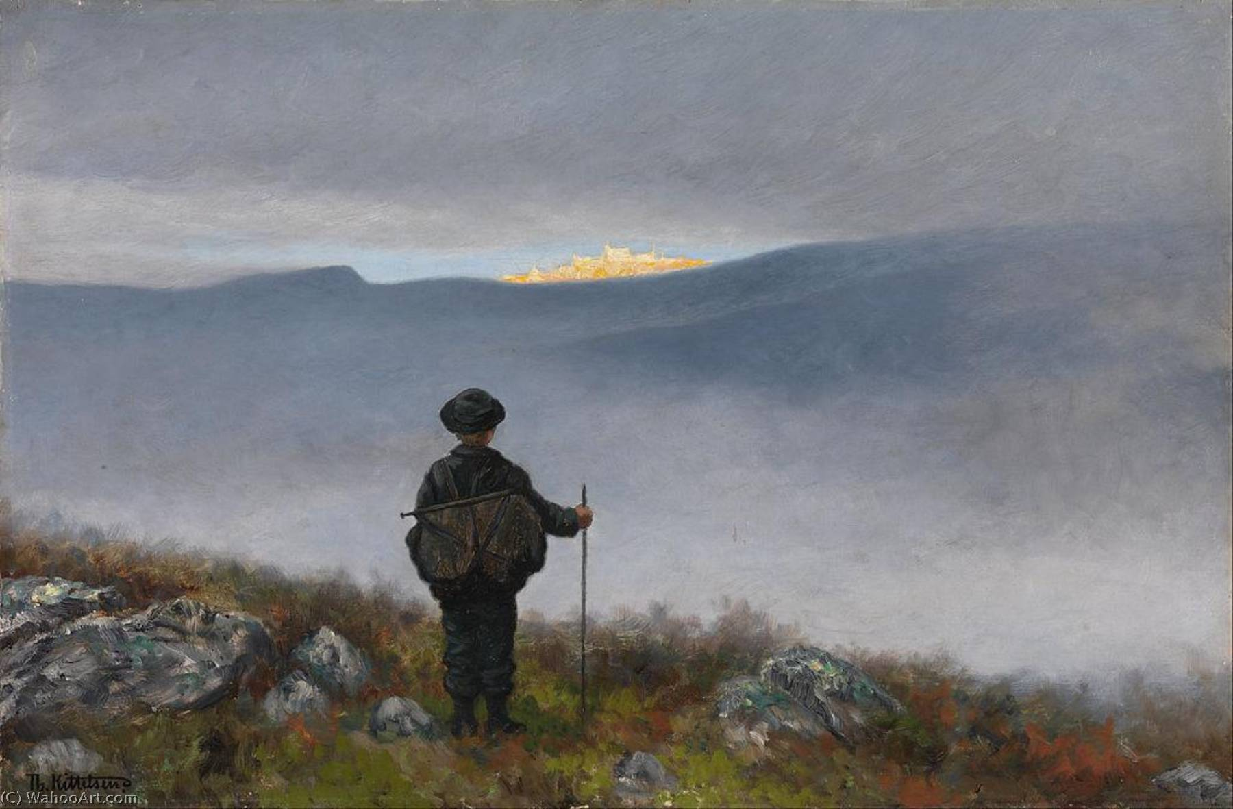 Far, far away Soria Moria Palace shimmered like Gold, 1900 by Theodor Kittelsen (1857-1914) | Painting Copy | WahooArt.com