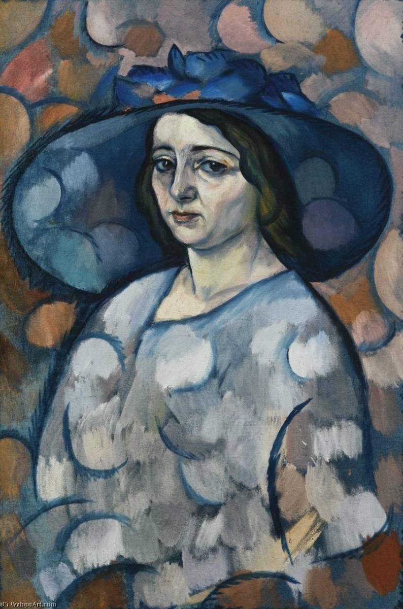 Lady in a Blue Hat by Vladimir Davidovich Baranov Rossine (1888-1944) | WahooArt.com