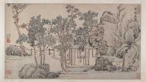 Wen Zhengming - 明 文徵明 叢桂齋圖 卷 The Cassia Grove Studio