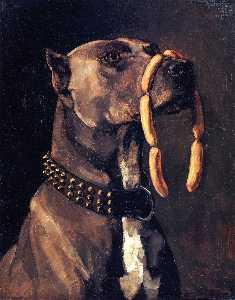 Wilhelm Trübner - Dog with Sausages (also known as Hail Caesar, We Who are about to Die Salute You)
