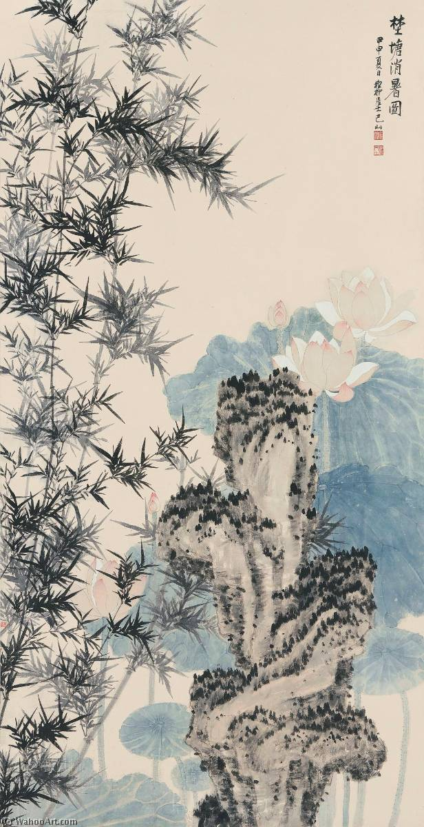 LOTUS BREEZE IN SUMMER by Xie Zhiliu (1910-1997, China) | Art Reproduction | WahooArt.com