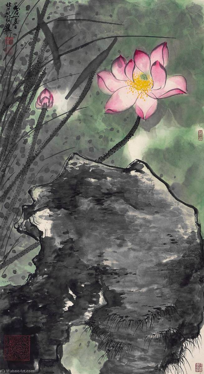 RED LOTUS by Xie Zhiliu (1910-1997, China) | Museum Quality Reproductions | WahooArt.com