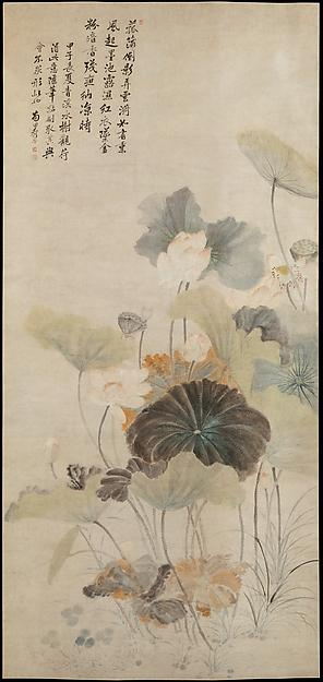 清 傳惲壽平 夏夜清荷圖 軸 Lotuses on a Summer Evening, 1684 by Yun Shouping (1633-1690) | Famous Paintings Reproductions | WahooArt.com