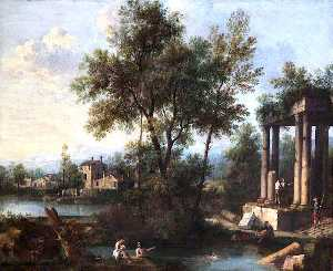 Giovanni Battista Cimaroli - Landscape with Figures by Classical Ruins