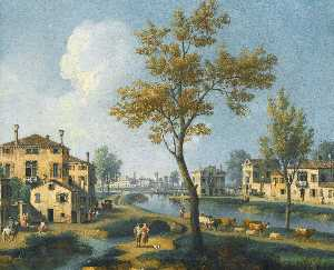Giovanni Battista Cimaroli - A landscape at the outskirts of a town with a peasant driving his cattle along a river bank