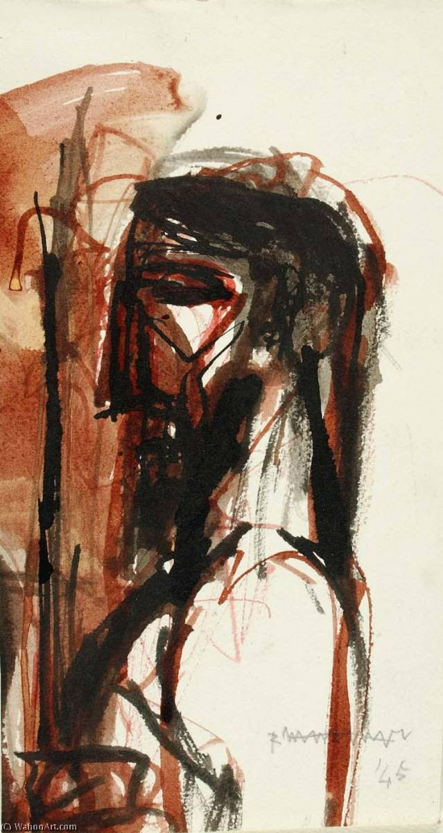 Head, 1945 by Abraham Rattner (1895-1978, United States) | Painting Copy | WahooArt.com