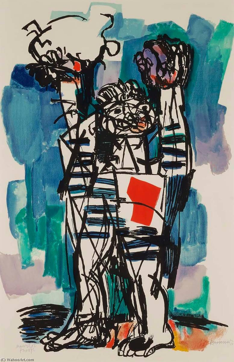 Untitled (Window Cleaner), 1968 by Abraham Rattner (1895-1978, United States) | Famous Paintings Reproductions | WahooArt.com