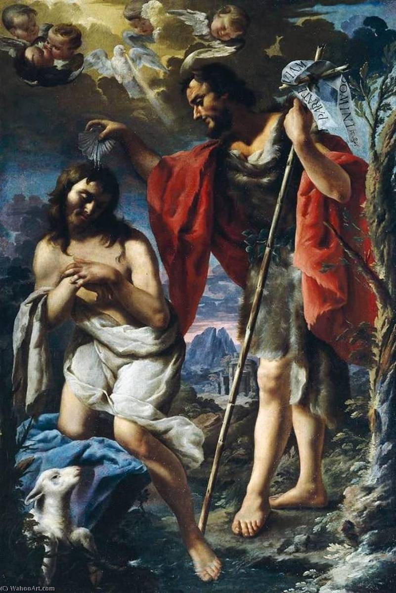 Baptism of Christ by Alessandro Rosi (1627-1697) | Famous Paintings Reproductions | WahooArt.com