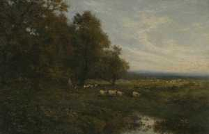 Alfred East - Landscape with Sheep and a Shepherd by a Stream