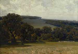 Alfred East - Evening in the Cotswolds