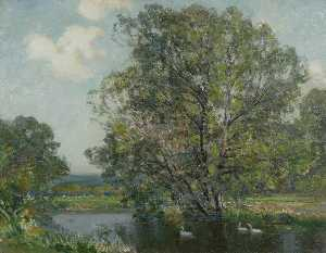 Alfred East - Landscape with River and Swans