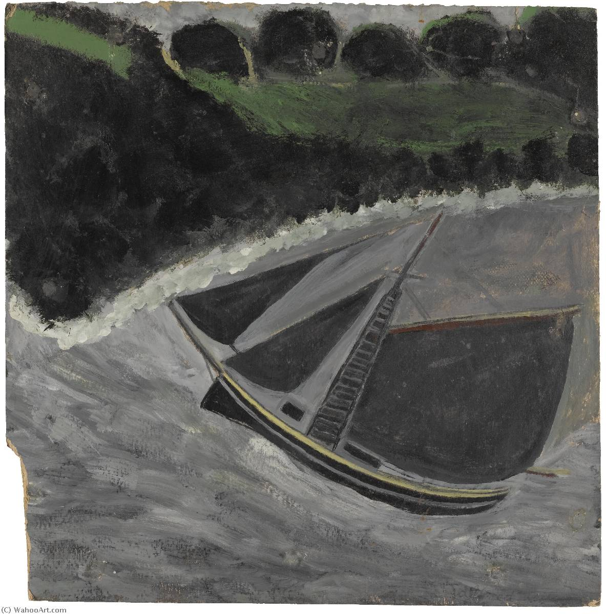 A Fishing Boat off the Coast, Oil by Alfred Wallis (1855-1942, United Kingdom)