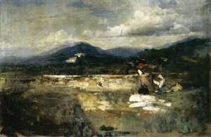 Cesare Tallone - Landscape with Figures