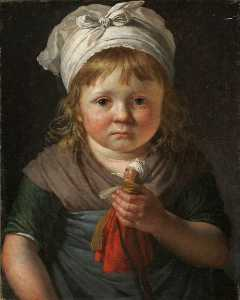 Anne Louis Girodet De Roussy Trioson - Little Peasant Girl with a Doll