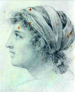 Anne Louis Girodet De Roussy Trioson - Head of a Young Woman