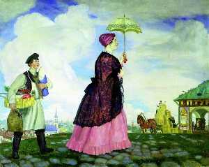 Boris Mikhaylovich Kustodiev - The Merchant-s Wife After Shopping