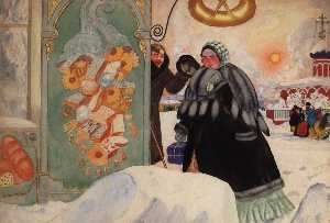 Boris Mikhaylovich Kustodiev - A Meeting at the Corner